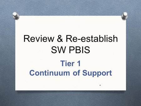 Review & Re-establish SW PBIS Tier 1 Continuum of Support *