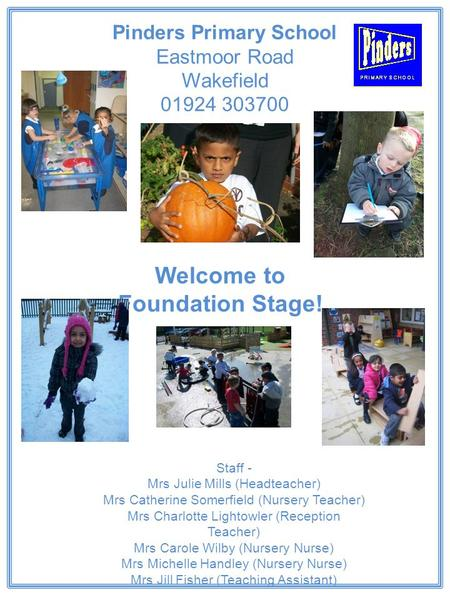 Welcome to Foundation Stage! Staff - Mrs Julie Mills (Headteacher) Mrs Catherine Somerfield (Nursery Teacher) Mrs Charlotte Lightowler (Reception Teacher)