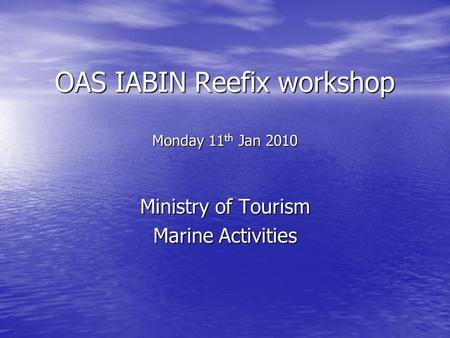 OAS IABIN Reefix workshop Monday 11 th Jan 2010 Ministry of Tourism Marine Activities.
