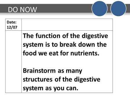 DO NOW Date: 12/07 The function of the digestive system is to break down the food we eat for nutrients. Brainstorm as many structures of the digestive.
