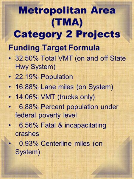 Funding Target Formula 32.50% Total VMT (on and off State Hwy System) 22.19% Population 16.88% Lane miles (on System) 14.06% VMT (trucks only) 6.88% Percent.