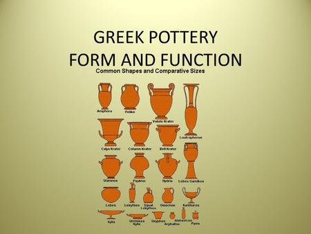 GREEK POTTERY FORM AND FUNCTION. Back Ground Where few paintings and statues survive, thousands of pieces of pottery survive and help historian reconstruct.