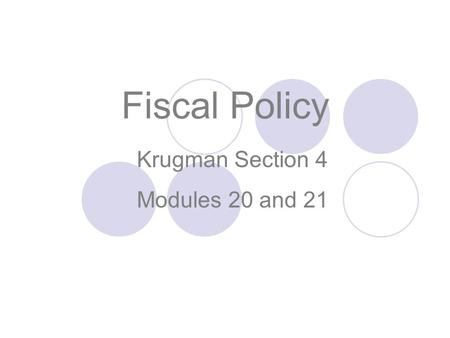 Krugman Section 4 Modules 20 and 21 Fiscal Policy.