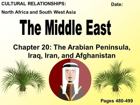CULTURAL RELATIONSHIPS: North Africa and South West Asia Chapter 20: The Arabian Peninsula, Iraq, Iran, and Afghanistan Pages 480-499 Date: