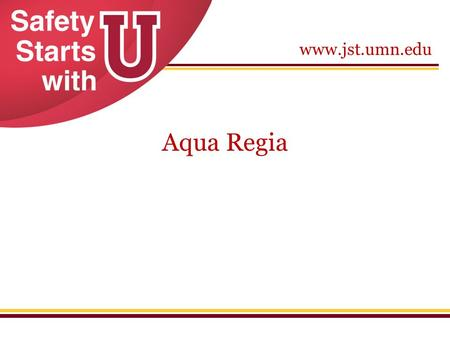 Www.jst.umn.edu Aqua Regia. www.jst.umn.edu Aqua Regia Materials and Methods: Aqua Regia is a mixture of concentrated nitric acid and hydrochloric acid.