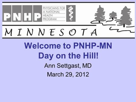 Welcome to PNHP-MN Day on the Hill! Ann Settgast, MD March 29, 2012.