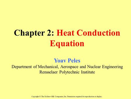 Chapter 2: Heat Conduction Equation