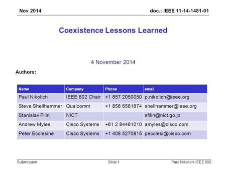 Doc.: IEEE 11-14-1481-01 SubmissionPaul Nikolich, IEEE 802Slide 1 Coexistence Lessons Learned 4 November 2014 Authors: NameCompanyPhoneemail Paul NikolichIEEE.
