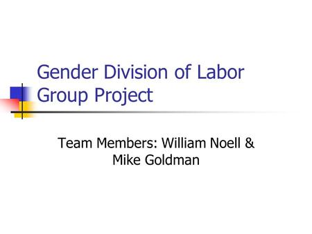 Gender Division of Labor Group Project Team Members: William Noell & Mike Goldman.