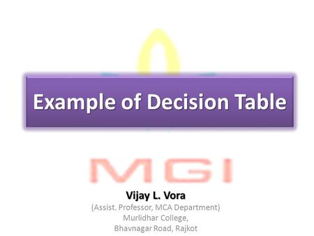 Example of Decision Table