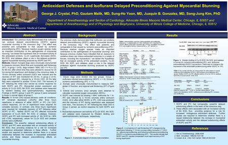 Antioxidant Defenses and Isoflurane Delayed Preconditioning Against Myocardial Stunning George J. Crystal, PhD, Gautam Malik, MD, Sung-Ho Yoon, MD, Juaquin.