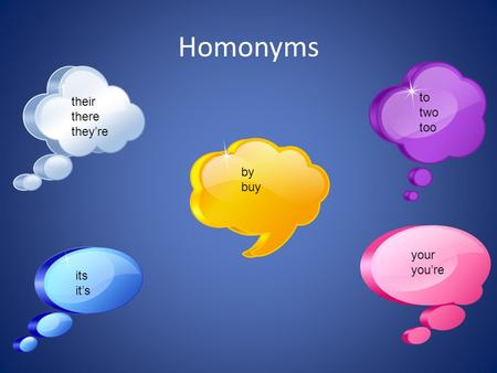 Homonyms to two too their there they're by buy your you're its it's.