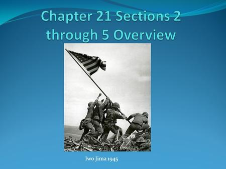 Iwo Jima 1945. Overview of Chapter 21 Section 2 I. Holding the Line Against Japan A. Chester Nimitz 1. He was the commander of the United States Navy.