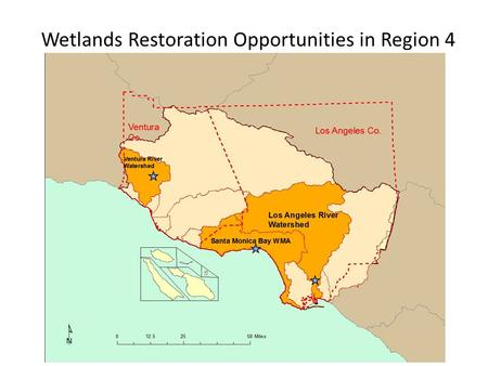 Wetlands Restoration Opportunities in Region 4. Los Angeles River – DeForest Wetlands Currently a flood control detention basin Adjoins the Dominguez.