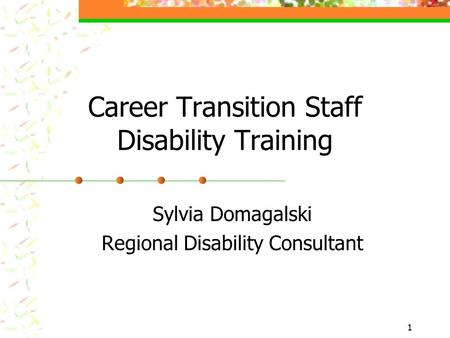 1 Career Transition Staff Disability Training Sylvia Domagalski Regional Disability Consultant.