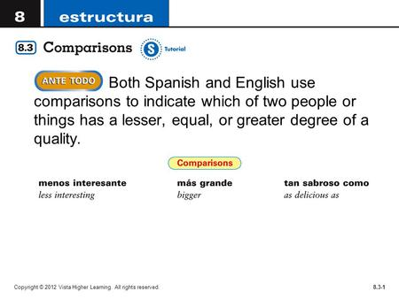Copyright © 2012 Vista Higher Learning. All rights reserved.8.3-1  Both Spanish and English use comparisons to indicate which of two people or things.