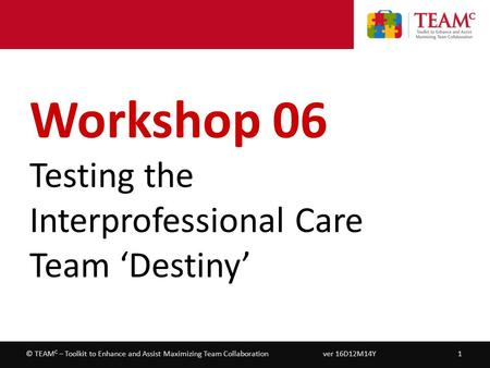 Workshop 06 – Testing the Interprofessional Care Team 'Destiny' ver 16D12M14Y1© TEAM C – Toolkit to Enhance and Assist Maximizing Team Collaboration Workshop.