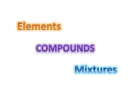 Element – Substance that contains only one type of atom. Example: Copper, Iron, Sodium.