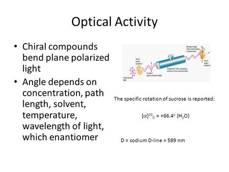 Optical Activity Chiral compounds bend plane polarized light