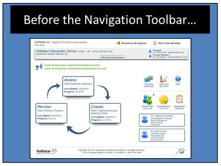 Before the Navigation Toolbar…. Navigation Toolbar.
