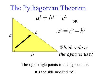 The Pythagorean Theorem a b c a 2 + b 2 = c 2 Which side is the hypotenuse? a 2 = c 2 – b 2 The right angle points to the hypotenuse. It's the side labelled.
