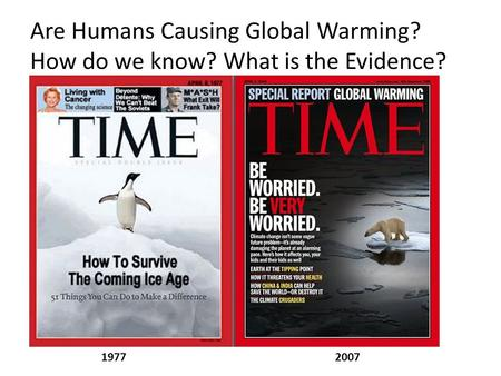 19772007 Are Humans Causing Global Warming? How do we know? What is the Evidence?