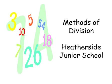 Methods of Division Heatherside Junior School. ÷ DIVISION ÷ share share equally equal groups of divide divided by divided into divisible by remainder.