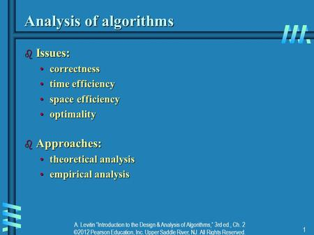 "A. Levitin ""Introduction to the Design & Analysis of Algorithms,"" 3rd ed., Ch. 2 ©2012 Pearson Education, Inc. Upper Saddle River, NJ. All Rights Reserved."