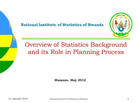 31 January 2016 National Institute of Statistics of Rwanda 1 Overview of Statistics Background and its Role in Planning Process Musanze, May 2012.