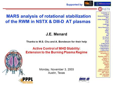 MARS analysis of rotational stabilization of the RWM in NSTX & DIII-D AT plasmas Supported by Columbia U Comp-X General Atomics INEL Johns Hopkins U LANL.