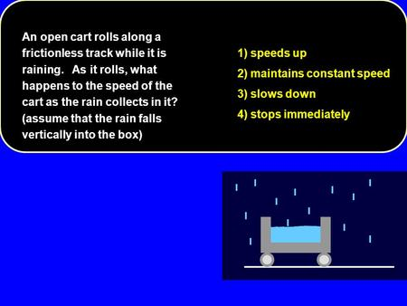 1) speeds up 2) maintains constant speed 3) slows down 4) stops immediately An open cart rolls along a frictionless track while it is raining. As it rolls,