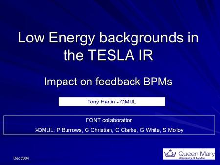 Dec 2004 Low Energy backgrounds in the TESLA IR Impact on feedback BPMs FONT collaboration  QMUL: P Burrows, G Christian, C Clarke, G White, S Molloy.