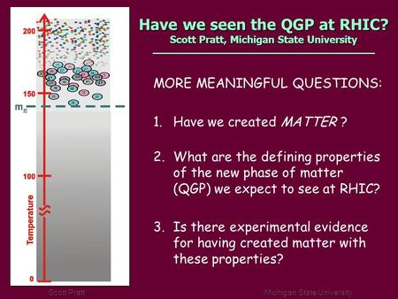 Scott Pratt Michigan State University Have we seen the QGP at RHIC? Scott Pratt, Michigan State University MORE MEANINGFUL QUESTIONS: 1.Have we created.