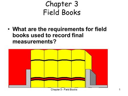 Chapter 3 - Field Books1 Chapter 3 Field Books What are the requirements for field books used to record final measurements?