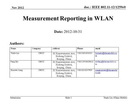 Doc.: IEEE 802.11-12/1259r0 SubmissionYunlu Liu (China Mobile)Slide 1 Measurement Reporting in WLAN Date: 2012-10-31 Authors: Nov 2012.