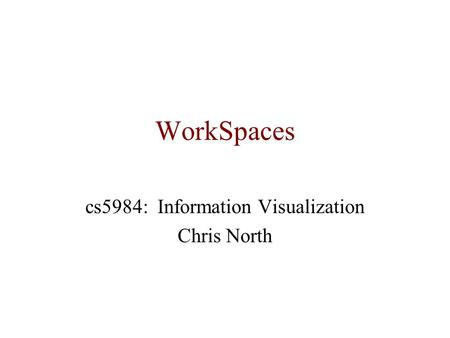 WorkSpaces cs5984: Information Visualization Chris North.