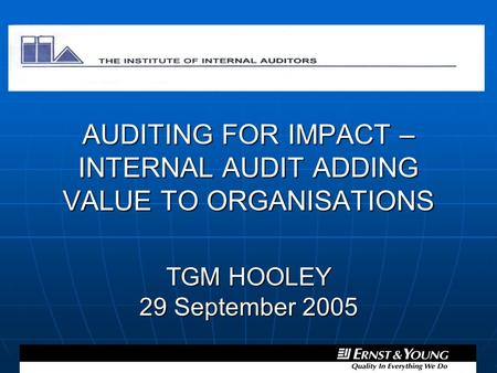 the impact of internal auditing on