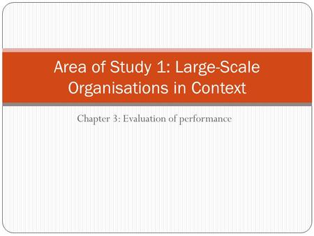 Chapter 3: Evaluation of performance Area of Study 1: Large-Scale Organisations in Context.