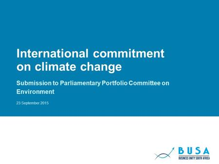 International commitment on climate change Submission to Parliamentary Portfolio Committee on Environment 23 September 2015.