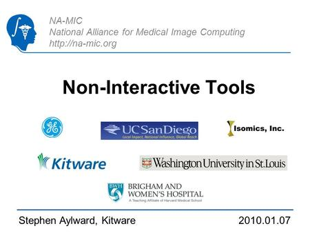 NA-MIC National Alliance for Medical Image Computing  Non-Interactive Tools Stephen Aylward, Kitware 2010.01.07.