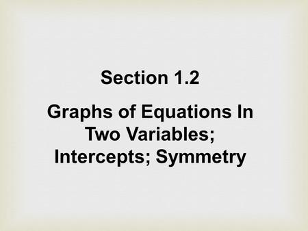 Section 1.2 Graphs of Equations In Two Variables; Intercepts; Symmetry.