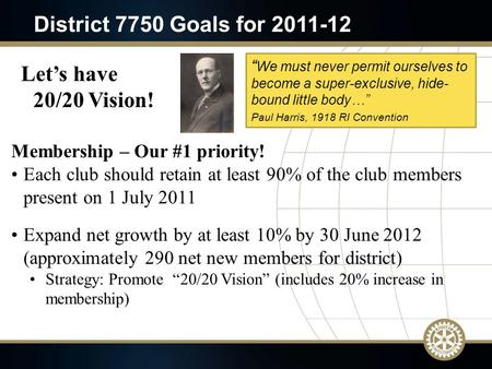 Membership – Our #1 priority! Each club should retain at least 90% of the club members present on 1 July 2011 Expand net growth by at least 10% by 30 June.