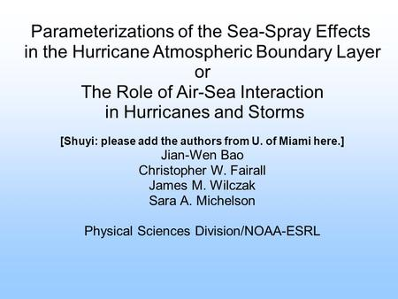 Parameterizations of the Sea-Spray Effects