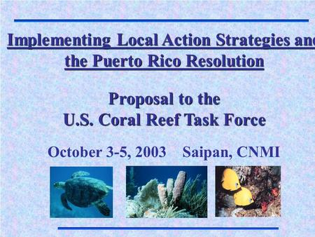 Implementing Local Action Strategies and the Puerto Rico Resolution Proposal to the U.S. Coral Reef Task Force October 3-5, 2003 Saipan, CNMI.