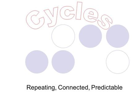 Repeating, Connected, Predictable. Where have you heard the word cycle before? Water cycle? Motorcycle? Bicycle? Wash cycle? Recycle?
