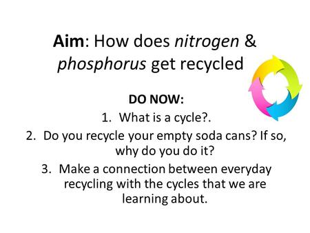 Aim: How does nitrogen & phosphorus get recycled?