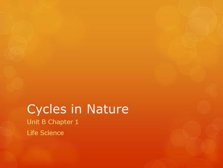 Cycles in Nature Unit B Chapter 1 Life Science. Investigation: How Plants Use Carbon Dioxide 1.PUT ON SAFTEY GOGGLES! LEAVE THEM ON UNTIL #4 IS COMPLETED!