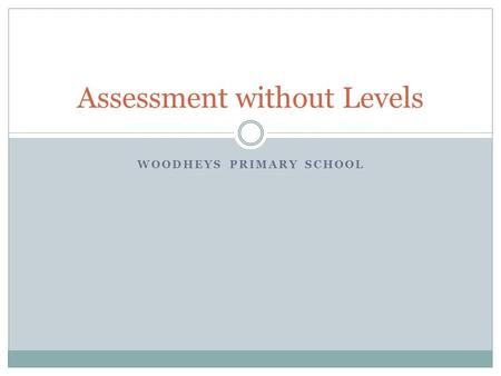 WOODHEYS PRIMARY SCHOOL Assessment without Levels.