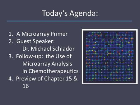 Today's Agenda: 1. A Microarray Primer 2. Guest Speaker: Dr. Michael Schlador 3. Follow-up: the Use of Microarray Analysis in Chemotherapeutics 4. Preview.