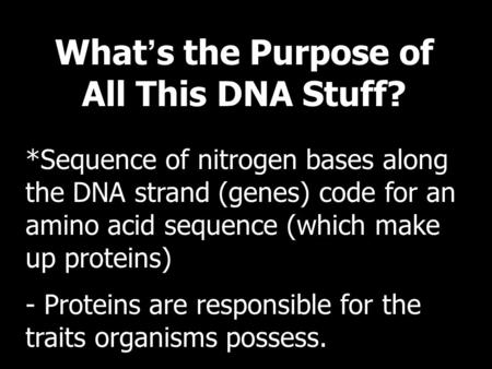 What ' s the Purpose of All This DNA Stuff? *Sequence of nitrogen bases along the DNA strand (genes) code for an amino acid sequence (which make up proteins)